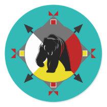Cherokee Bear Four Directions Round Sticker