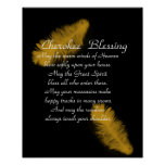 Cherokee blessing Golden feather on black Print