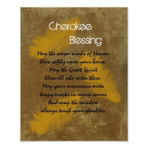 Cherokee blessing Golden feather Poster