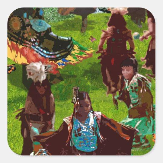 Cherokee Butterfly Dance Square Sticker
