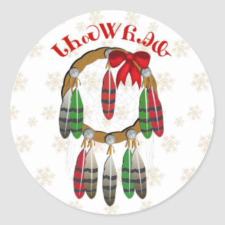Cherokee Christmas Dream Catcher Classic Round Sticker