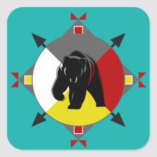 Cherokee Four Directions Bear Square Sticker