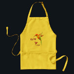 """Cherokee Hummingbird Apron<br><div class=""""desc"""">Hummer time apron - featuring two sweet enigmatic hummingbirds. The Cherokee words for hummingbird and baby (walela and usdi) are shown in Cherokee characters.</div>"""