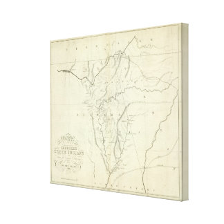 Cherokee Map Stretched Canvas Prints