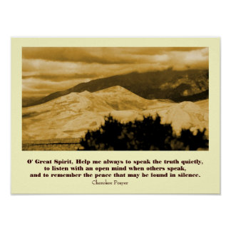 Cherokee Prayer with landscape Poster