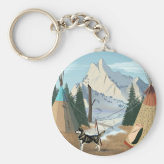 Cherokee Village Basic Round Button Keychain