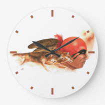 Cherokee Wolf Clan Large Clock