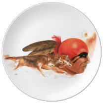 Cherokee Wolf Clan Warrior Porcelain Plate
