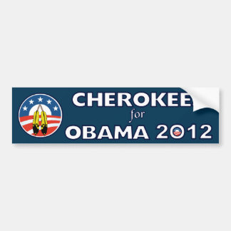 Cherokees For Obama With Feathers Bumper Sticker Car Bumper Sticker