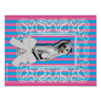 Cherrie Au Lait Sweetshop Cute Retro Pin Up Girl Poster