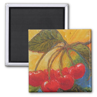 Cherries 2 Inch Square Magnet