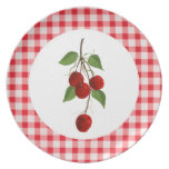 Cherries And Gingham Plate