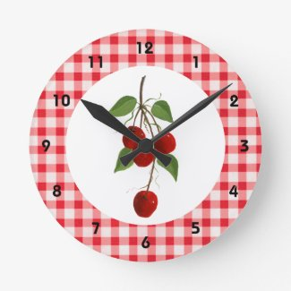 Cherries And Gingham Wall Clock