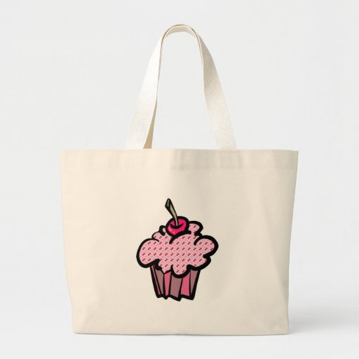 cherries and hearts cupcakes tote bag