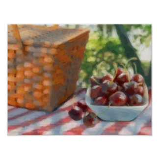Cherries and Picnic Basket Poster