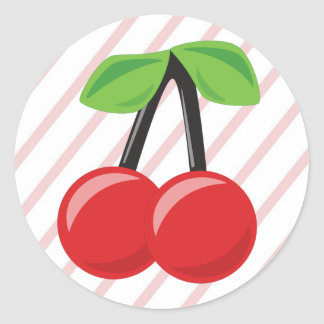 Cherries and Stripes Classic Round Sticker