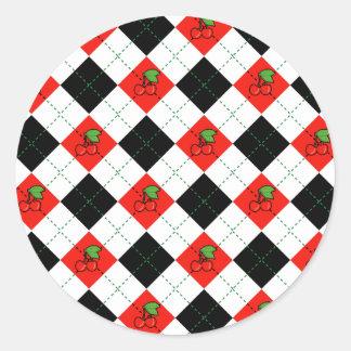 Cherries & Argyle Classic Round Sticker