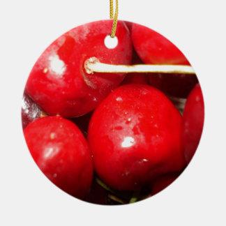 Cherries Art Photo Ceramic Ornament