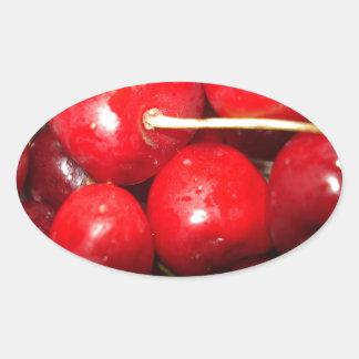 Cherries Art Photo Oval Sticker