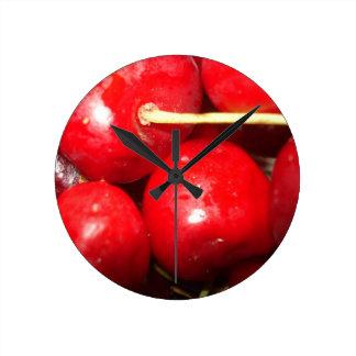 Cherries Art Photo Round Clock
