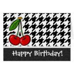 Cherries; Black & White Houndstooth Greeting Card