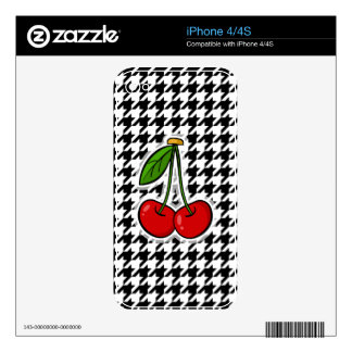Cherries; Black & White Houndstooth Decals For The iPhone 4S