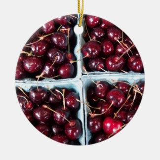 cherries ceramic ornament