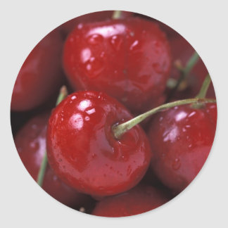 Cherries cherry fruit food snacks classic round sticker