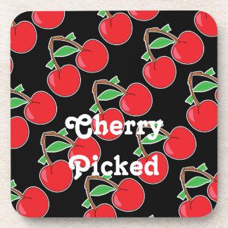 Cherries Cherry Picked on Black Coaster