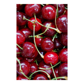 Cherries close-up poster