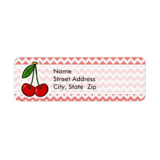 Cherries Coral Chevron Pattern Labels