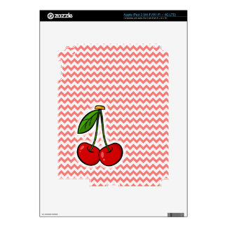 Cherries; Coral Chevron Pattern Decals For iPad 3