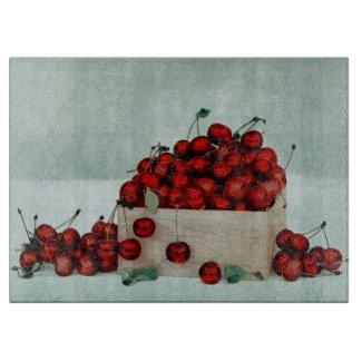 Cherries Crate Glass Cutting Board