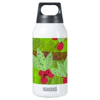 cherries design, asian influence insulated water bottle