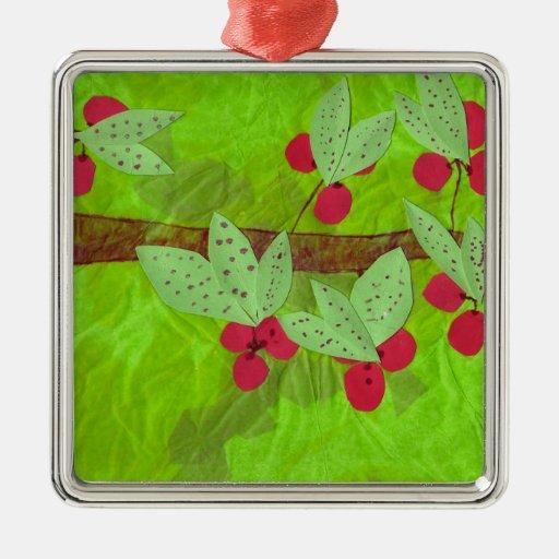 cherries design, asian influence metal ornament