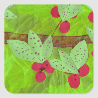 cherries design, asian influence square sticker