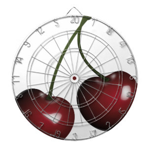 Cherries Drawing Dartboard With Darts