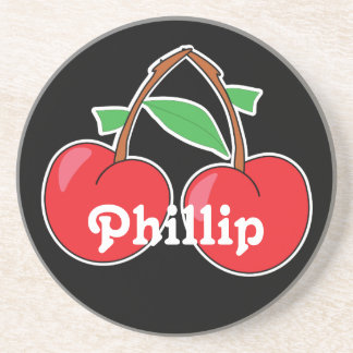 Cherries Duo with Name on Black Coaster