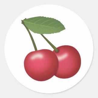 Cherries Emoji Classic Round Sticker