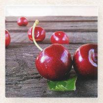 Cherries Freshly Picked Glass Coaster