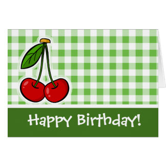 Cherries & Green Gingham Cards
