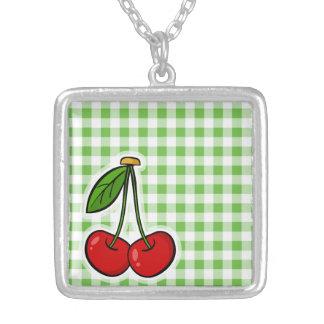 Cherries Green Gingham Pendants