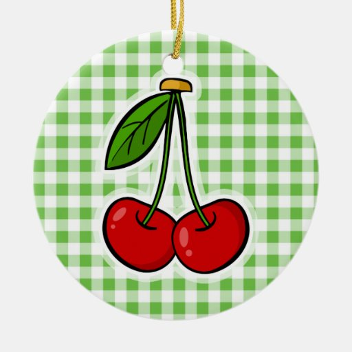 Cherries & Green Gingham Double-Sided Ceramic Round Christmas Ornament