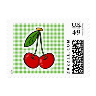 Cherries & Green Gingham Postage Stamp
