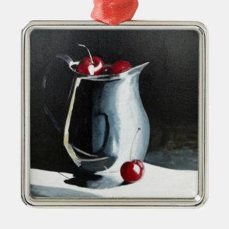 Cherries in pewter metal ornament