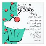 Cherries Jubilation Cupcake 5.25x5.25 Square Paper Invitation Card