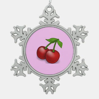 Cherries, Leaves, Stems, Fruits - Red Green Snowflake Pewter Christmas Ornament