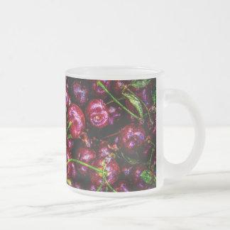 Cherries 10 Oz Frosted Glass Coffee Mug
