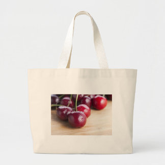 Cherries on Cutting Board Cloth Shopping Bag