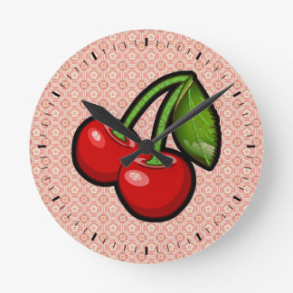 Cherries on Flower Round Clock